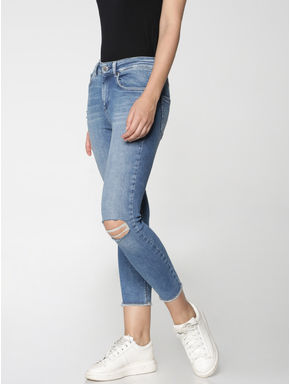 Blue Mid Rise Knee Ripped Ankle Length Skinny Fit Jeans