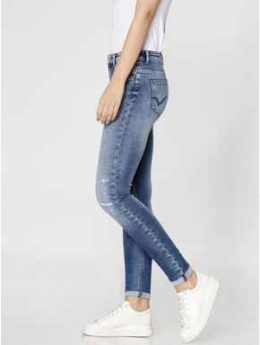 Blue Mid Rise Distressed Ankle Length Skinny Fit Jeans