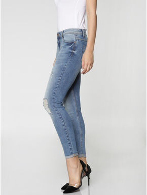 Blue Mid Rise Mildly Distressed Washed Ankle Length Skinny Fit Jeans