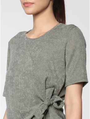 Green Shimmer Side Knot Top