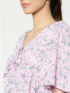 Lavender All Over Floral Print Ruffle Detail Top