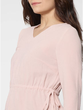 Pink Elasticated Waist Lace Sleeve Detail Top