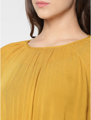 Mustard Smock Waist Cropped Top