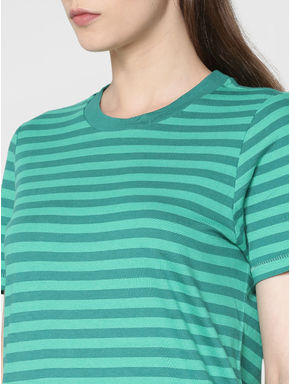 Green Striped Mini Shift Dress