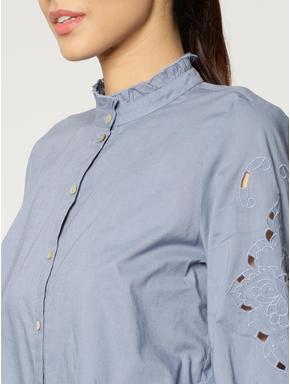 Blue Floral Cut Work Bell Sleeves Shirt