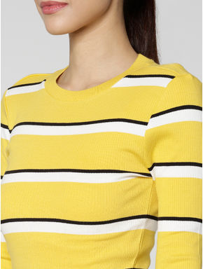 Yellow Colour Blocked Striped T-shirt