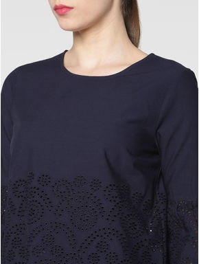 Navy Blue Schiffli Cut Work Embroidery Cropped Top