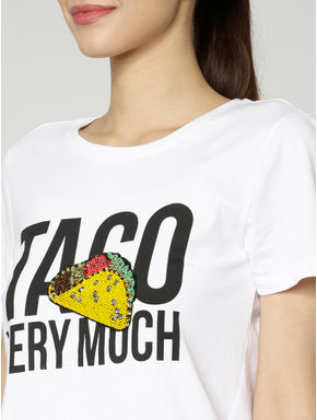 White Taco Graphic and Text Print T-shirt