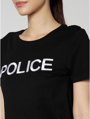 Black Police Text Print T-shirt