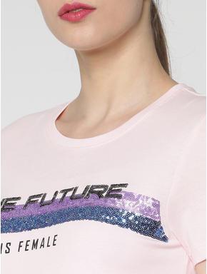 Pink Sequins Embellished T-shirt