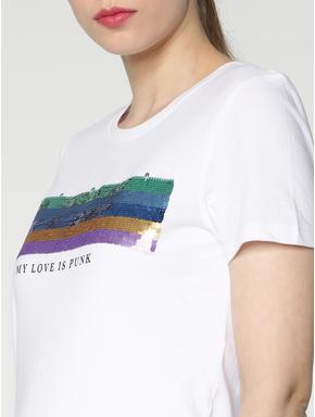 White Sequins Embellished T-shirt