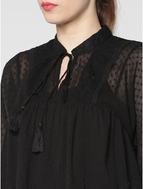 Black Sheer Lace Detail Flared Top
