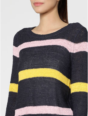 Navy Blue Colour Blocked Pullover