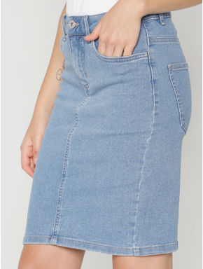 Blue Mid Rise Denim Pencil Skirt