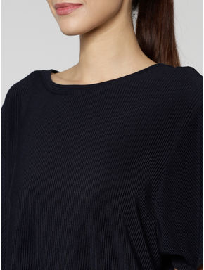 Navy Blue Flared Sleeves Top