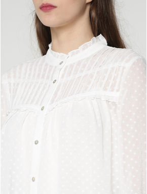 White All Over Print Sheer Shirt