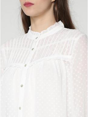 White All Over Print Sheer Shirt
