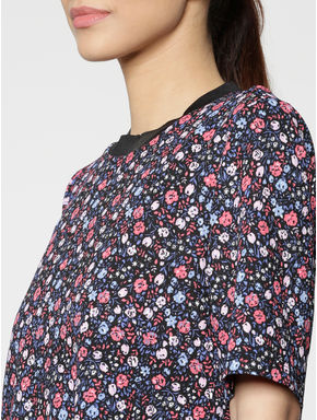 Black Colour Blocked All Over Floral Print Cropped Top