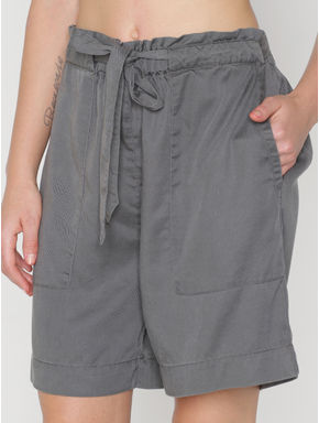Grey Low Rise Tie Up Waist Shorts