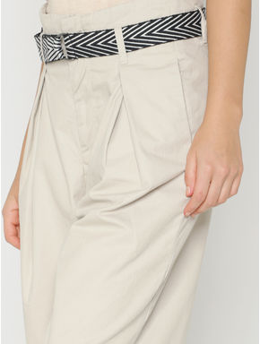 Beige Low Rise Loose Fit Wide Leg Pants