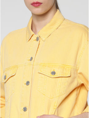 Yellow Solid Denim Bomber Jacket
