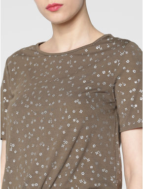 Brown All Over Silver Graphic Print Front Tie Up T-shirt