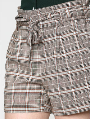 Grey Low Rise Check Tie Up Belt Paper Bag Waist Shorts