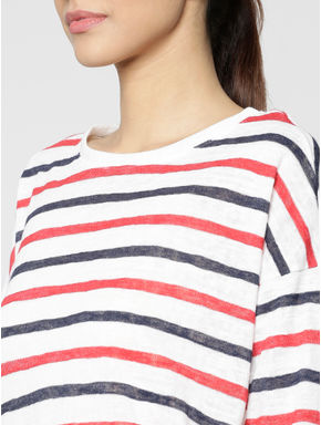White Striped Back Tie Up Bow Loose Fit T-shirt