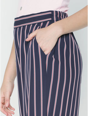 Blue Mid Rise Striped Palazzo Pants