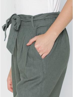 Green Mid Rise Paper Bag Waist Tie Up Belt Culottes