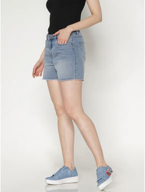 Blue Low Rise Raw Edge Denim Shorts