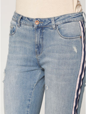 Blue Low Rise Ripped Side Tape Detail Skinny Fit Jeans