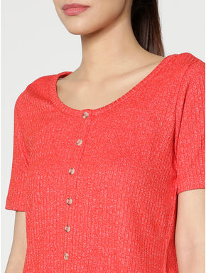Red Ribbed Shimmer T-shirt