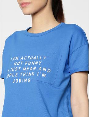 Blue Text Print Cropped Sweatshirt