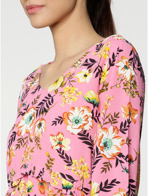 Pink All Over Floral Print Ruffled Hem Top