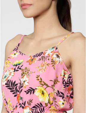 Pink All Over Floral Print Spaghetti Straps Top