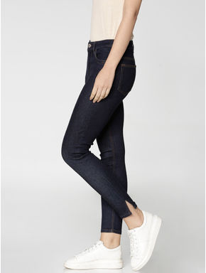 Dark Blue High Waist Ankle Length Skinny Fit Jeans