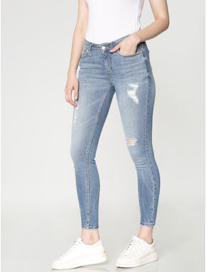 Blue Mid Rise Mildly Ripped Washed Ankle Length Skinny Fit Jeans