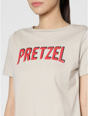 Light Brown Text Print Back Slit T-shirt