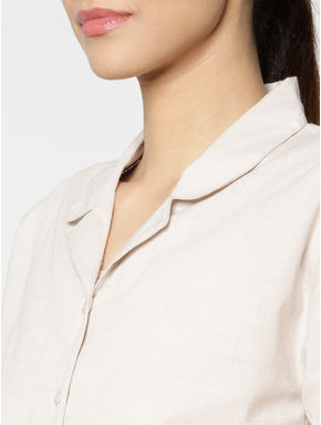 Beige Cut Work Embroidery Hem Tie Up Sleeves Cropped Shirt