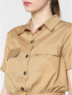 Brown Cropped Shirt