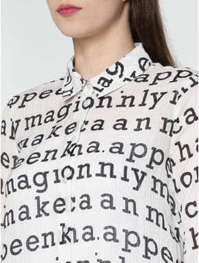 White All Over Alphabet Print Shirt