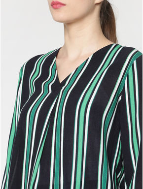 Navy Blue Multicoloured Striped Top