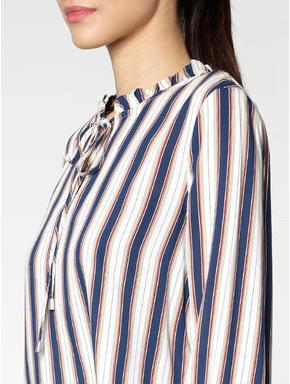 White Colour Blocked Striped Top