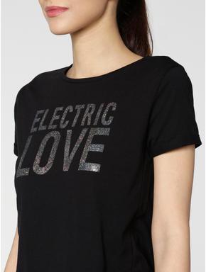 Black Shimmer Text Print T-shirt