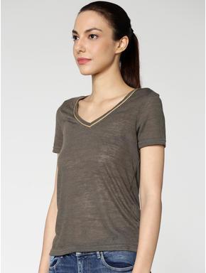 Dark Green Contrast Collar Tipping T-shirt