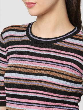 Purple Shimmer Multicoloured Striped Slim Fit Pullover