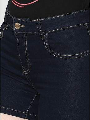 Blue Low Rise Raw Washed Slim Fit Denim Shorts