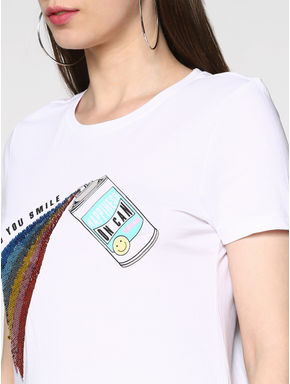 White Graphic and Sequin Embellished T-shirt
