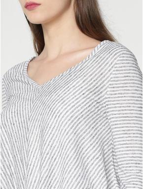 Blue Striped Front Twist Detail T-shirt